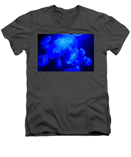 Blue Moon Jellies Men's V-Neck T-Shirt by Karon Melillo DeVega