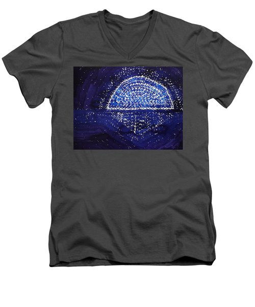 Blue Moonrise Original Painting Men's V-Neck T-Shirt by Sol Luckman