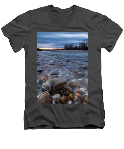 Men's V-Neck T-Shirt featuring the photograph Blue Morning by Davorin Mance