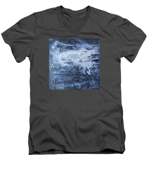 Men's V-Neck T-Shirt featuring the photograph Blue Mountain by Susan  Dimitrakopoulos