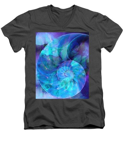 Blue Nautilus Shell By Sharon Cummings Men's V-Neck T-Shirt