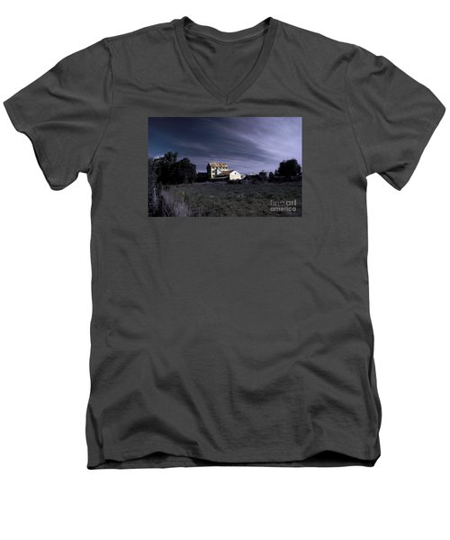 Men's V-Neck T-Shirt featuring the photograph Blue Night by Nareeta Martin