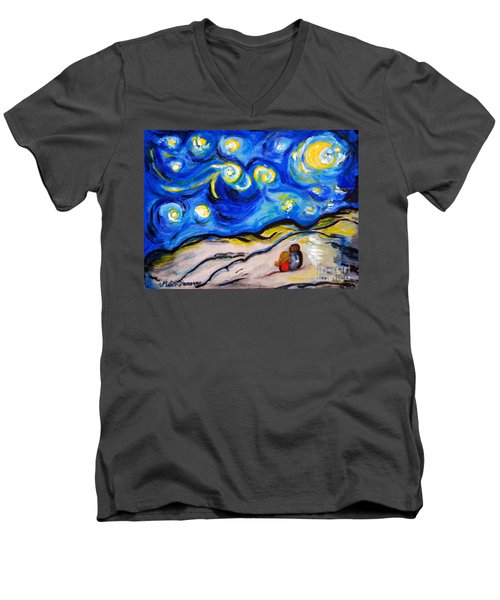 Men's V-Neck T-Shirt featuring the painting Blue Night by Ramona Matei