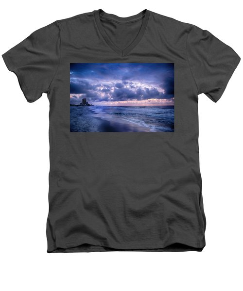 Men's V-Neck T-Shirt featuring the digital art Blue Orange Beach by Michael Thomas