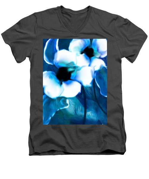 Men's V-Neck T-Shirt featuring the digital art Blue Orchids  by Frank Bright