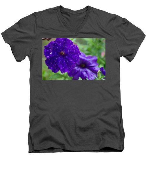 Blue Pansies After A Rain Men's V-Neck T-Shirt