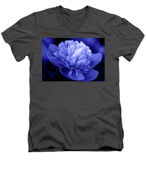Blue Peony Men's V-Neck T-Shirt