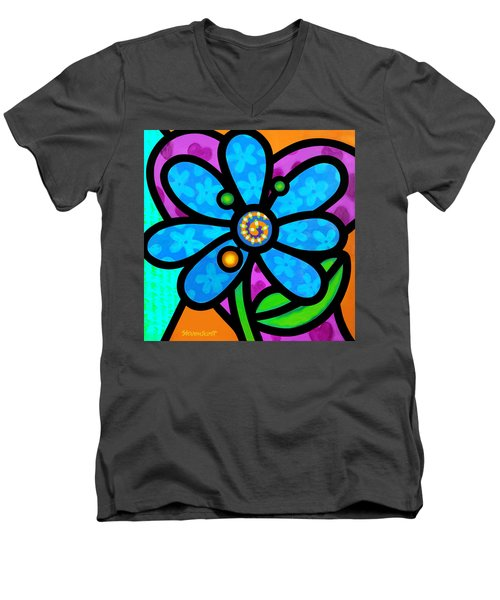 Blue Pinwheel Daisy Men's V-Neck T-Shirt