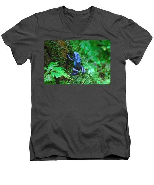 Blue Poison Dart Frog Men's V-Neck T-Shirt by DejaVu Designs