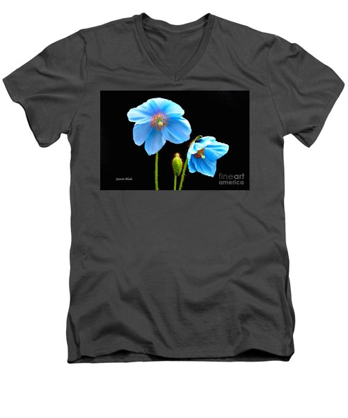 Blue Poppy Flowers # 4 Men's V-Neck T-Shirt by Jeannie Rhode