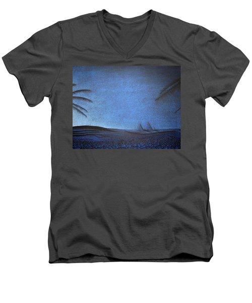 Men's V-Neck T-Shirt featuring the drawing Blue Pyramid by Mayhem Mediums