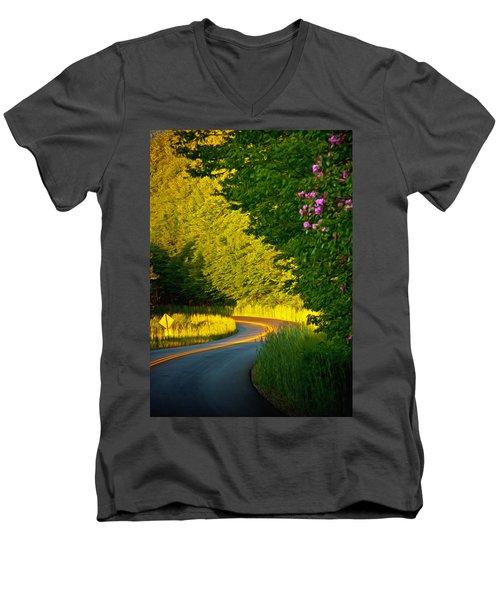 Men's V-Neck T-Shirt featuring the photograph Blue Ridge Afternoon by John Haldane