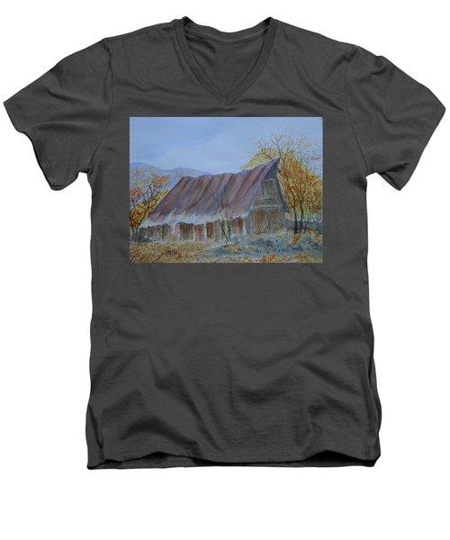 Blue Ridge Barn Men's V-Neck T-Shirt by Joel Deutsch