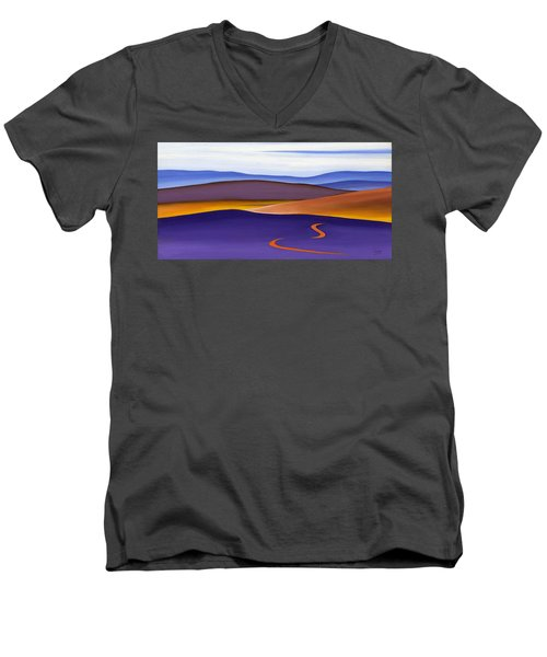 Blue Ridge Orange Mountains Sky And Road In Fall Men's V-Neck T-Shirt