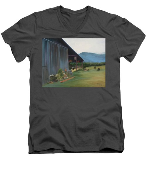 Men's V-Neck T-Shirt featuring the painting Blue Ridge Vineyard by Donna Tuten