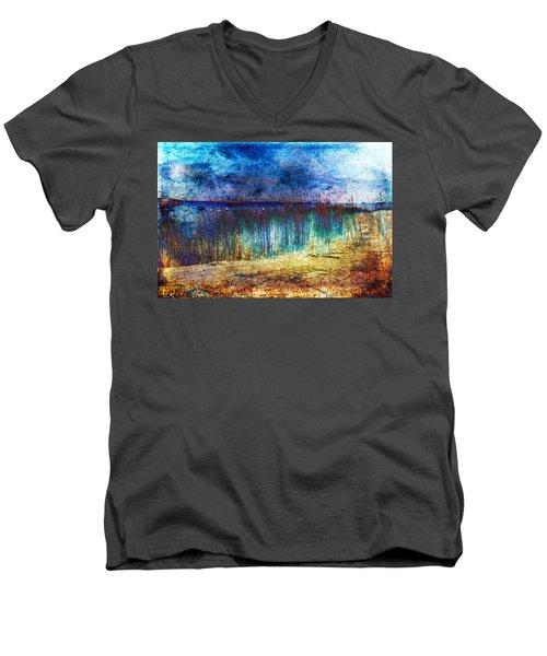 Blue Shore Men's V-Neck T-Shirt by Randi Grace Nilsberg