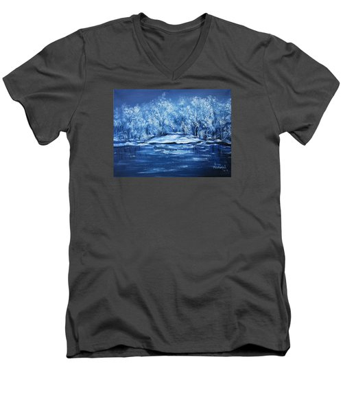 Men's V-Neck T-Shirt featuring the painting Blue Silence by Vesna Martinjak