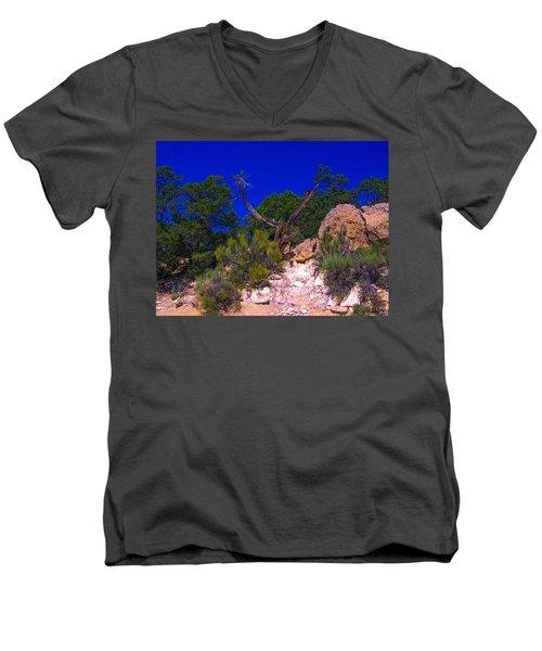 Blue Sky Over The Canyon Men's V-Neck T-Shirt