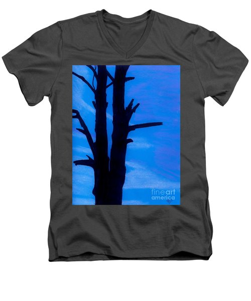 Men's V-Neck T-Shirt featuring the drawing Blue Sky Tree by D Hackett