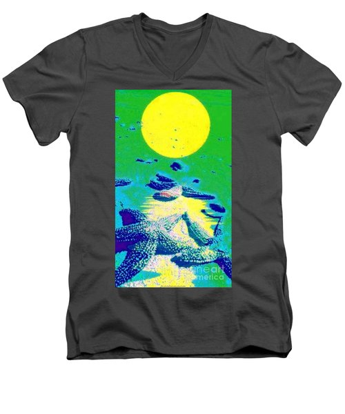 Blue Starfish Yellow Moon Men's V-Neck T-Shirt