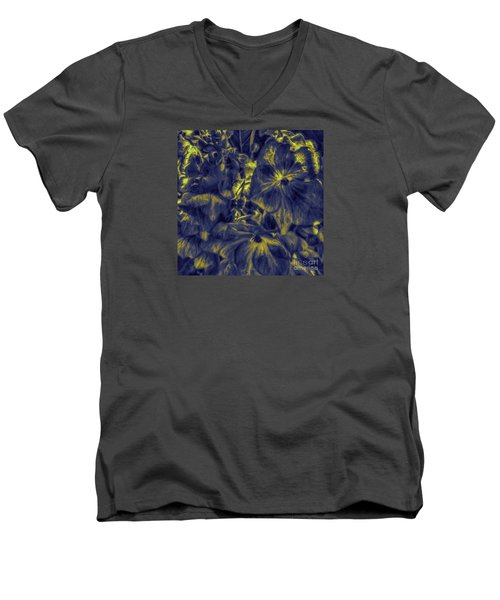 Blue Tango Floral Men's V-Neck T-Shirt by Jean OKeeffe Macro Abundance Art