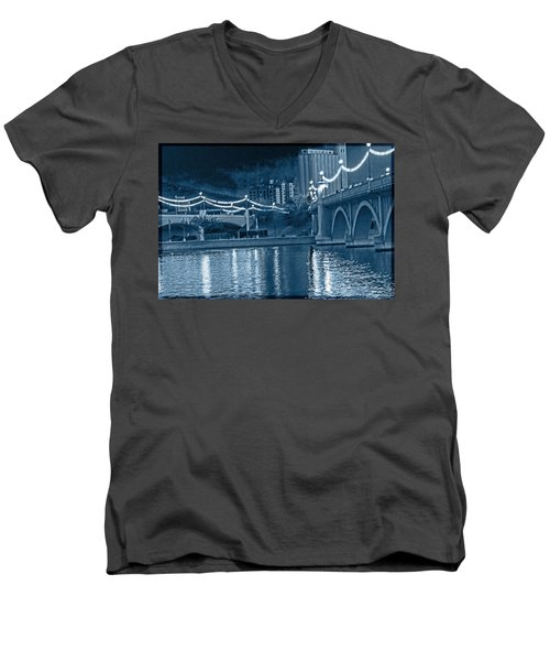 Blue Tempe Evening Men's V-Neck T-Shirt