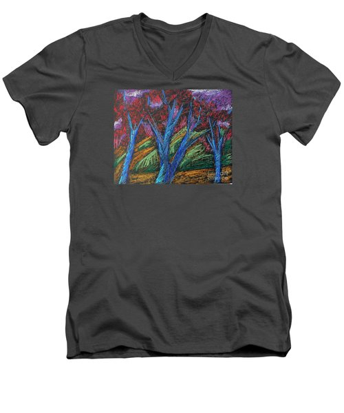 Central Park Blue Tempo Men's V-Neck T-Shirt by Elizabeth Fontaine-Barr