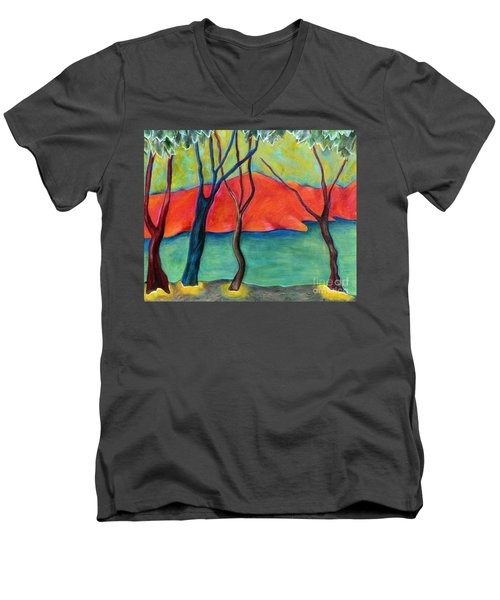 Blue Tree 2 Men's V-Neck T-Shirt by Elizabeth Fontaine-Barr