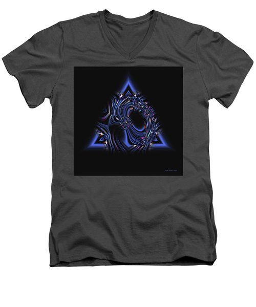 Blue Triangle Jewel Abstract Men's V-Neck T-Shirt
