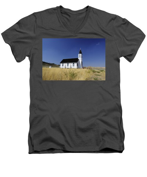 Men's V-Neck T-Shirt featuring the photograph Blue Trim Church by Fran Riley