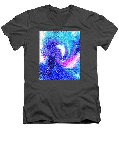Blue Vortex Men's V-Neck T-Shirt by Mariarosa Rockefeller