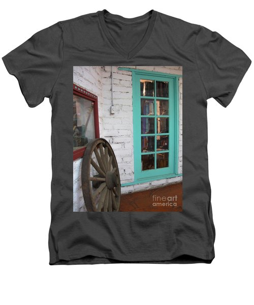 Men's V-Neck T-Shirt featuring the photograph Blue Window And Wagon Wheel by Dora Sofia Caputo Photographic Art and Design