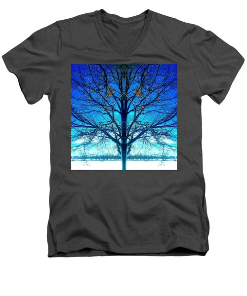 Blue Winter Tree Men's V-Neck T-Shirt by Marianne Dow