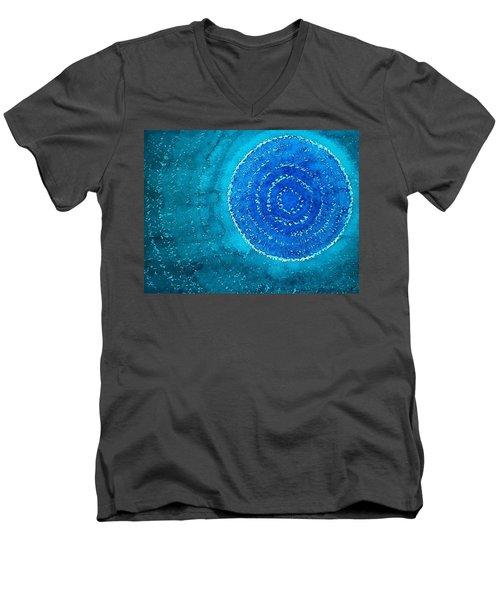 Blue World Original Painting Men's V-Neck T-Shirt by Sol Luckman