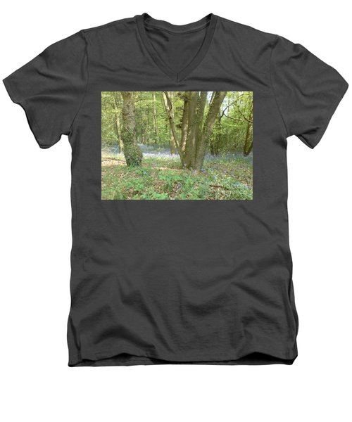 Men's V-Neck T-Shirt featuring the photograph Bluebell Wood by John Williams