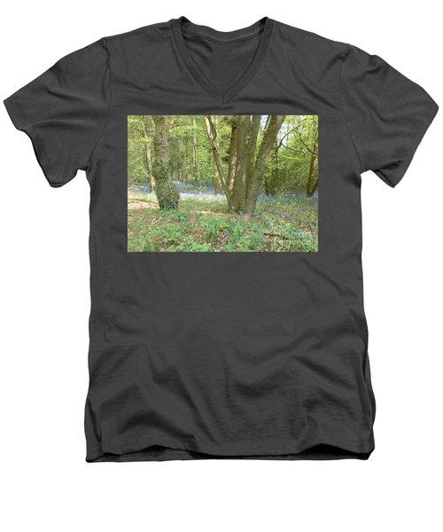 Bluebell Wood Men's V-Neck T-Shirt by John Williams