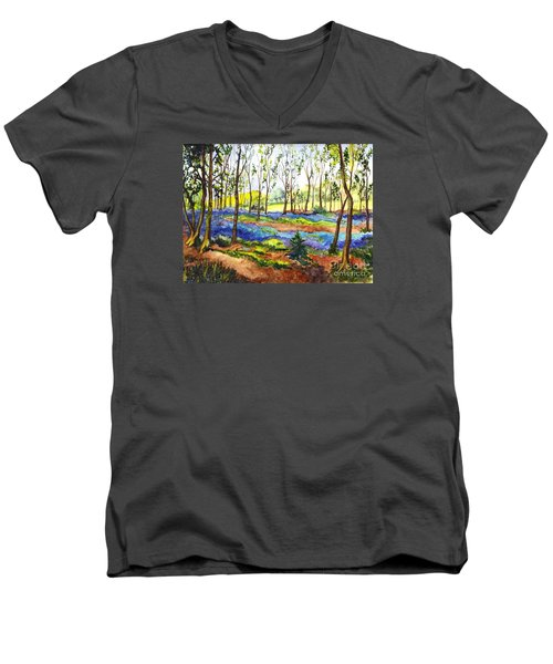 Men's V-Neck T-Shirt featuring the painting Bluebell Woods by Carol Wisniewski