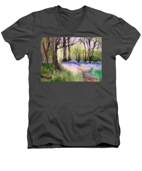 Bluebells At Dusk Men's V-Neck T-Shirt