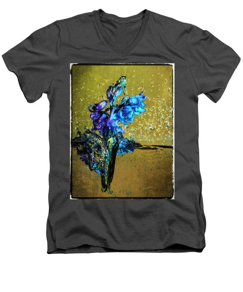 Men's V-Neck T-Shirt featuring the mixed media Bluebells In Water Splash by Peter v Quenter