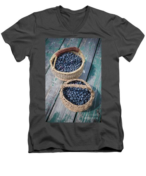 Blueberry Baskets Men's V-Neck T-Shirt by Edward Fielding
