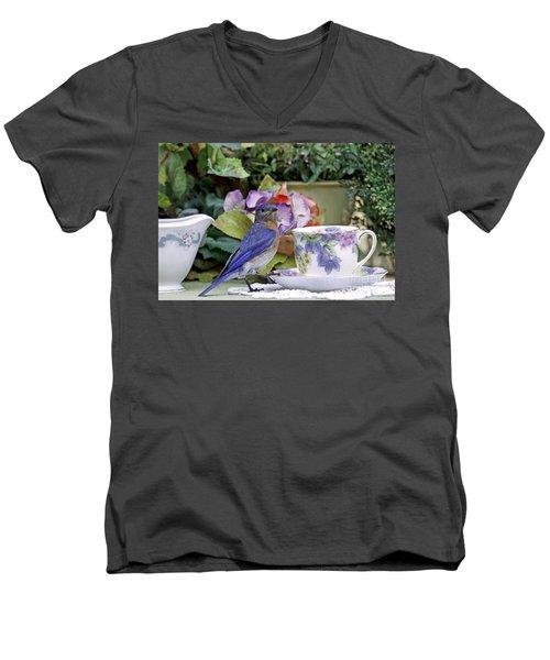 Bluebird And Tea Cups Men's V-Neck T-Shirt by Luana K Perez
