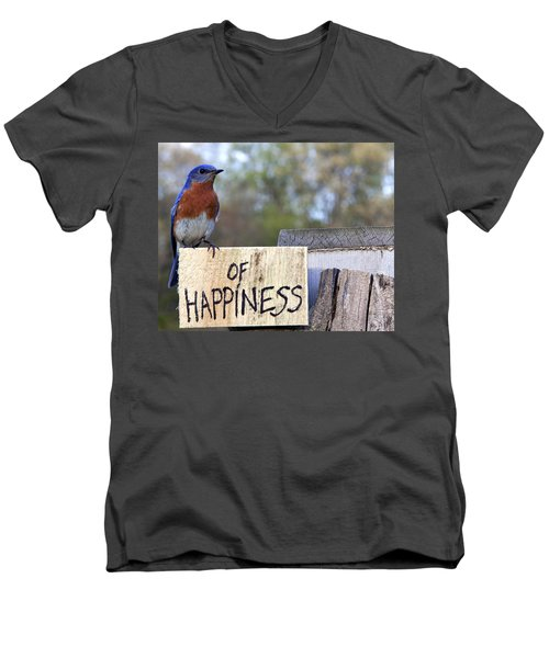 Bluebird Of Happiness Men's V-Neck T-Shirt by John Crothers
