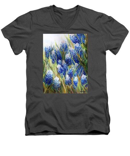 Bluebonnet Barrage  Men's V-Neck T-Shirt by Patti Gordon