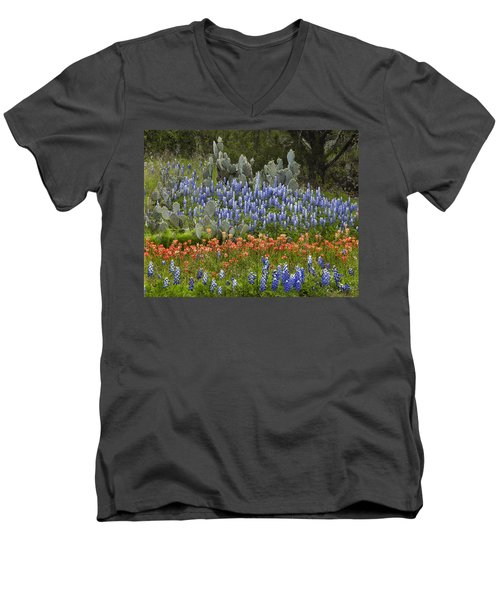 Bluebonnets Paintbrush And Prickly Pear Men's V-Neck T-Shirt