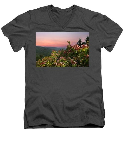 Blueridge Parkway Mountain Laurel Men's V-Neck T-Shirt