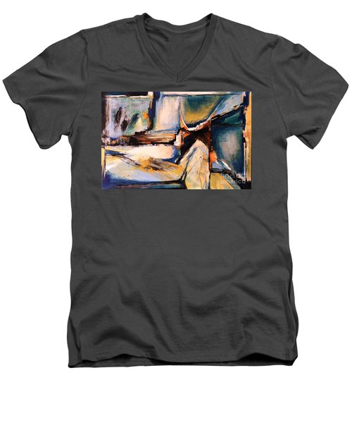 Blues And Orange Men's V-Neck T-Shirt by Glory Wood
