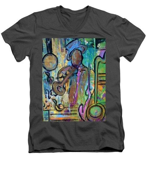 Blues Jazz Club Series Men's V-Neck T-Shirt by Kelly Turner