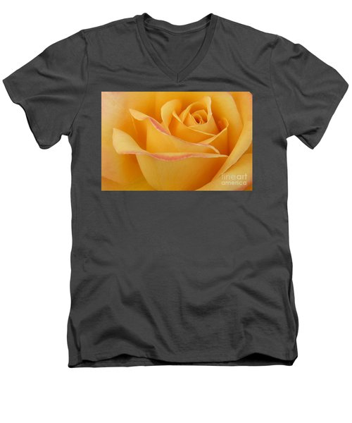 Blushing Yellow Rose Men's V-Neck T-Shirt