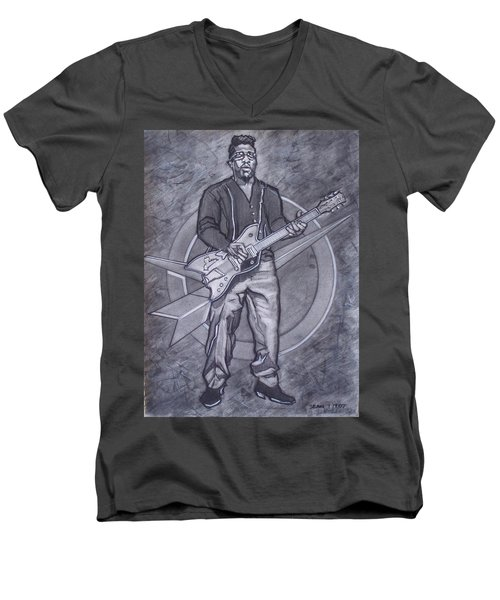 Bo Diddley - Have Guitar Will Travel Men's V-Neck T-Shirt by Sean Connolly