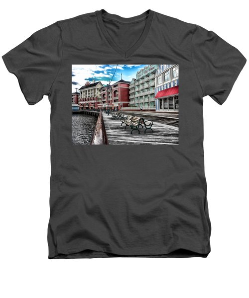 Boardwalk Early Morning Men's V-Neck T-Shirt by Thomas Woolworth